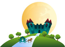 Castle and horse-drawn carriage under full moon Stock Photography