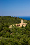 The castle-house from Begur Hill at Catalonia Spain Stock Photos