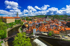Castle and houses in Cesky Krumlov, Czech republic stock image