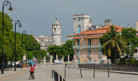 Castle and Houses of Havana. Beautiful castle and colonial buildings in Havana downtown, Cuba stock photos