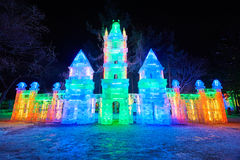 The castle ice-lantern festival Royalty Free Stock Images