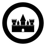 Castle icon black color in circle. Vector illustration isolated Royalty Free Stock Photos
