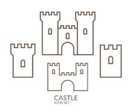 Castle. Icon set. Outline Stock Photography