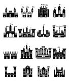 Castle Icon Set. Vector illustration of modern castle icons set on white background Royalty Free Stock Photo