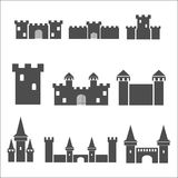 Castle icon set. Vector illustration  on white background Royalty Free Stock Photos