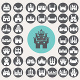 Castle icons set. Royalty Free Stock Photo