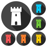 Castle icons set with long shadow. Vector icon Royalty Free Stock Images