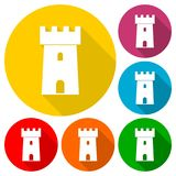 Castle icons set with long shadow. Vector icon Stock Photo