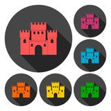 Castle icons set with long shadow. Icon Stock Photography