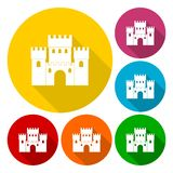 Castle icons set with long shadow. Vector icon Royalty Free Stock Photography