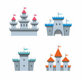 Castle icons. Vector black castle icons set on white background Stock Images