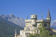 Castle idyll at Seefeld in Tirol. The Playcastle, the copy of a medieval castle in Seefeld in Tirol Royalty Free Stock Photography