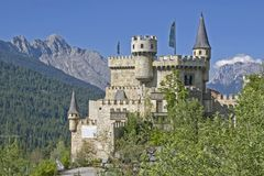 Castle idyll at Seefeld in Tirol. The Playcastle, the copy of a medieval castle in Seefeld in Tirol Royalty Free Stock Photo