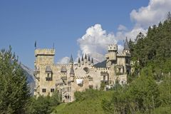 Castle idyll at Seefeld in Tirol. The Playcastle, the copy of a medieval castle in Seefeld in Tirol Stock Photo