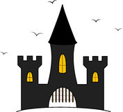 Cartoon castle illustration with flying crows Royalty Free Stock Photography