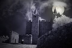 Free Castle In A Foggy Full Moon Night Stock Photography - 221527372