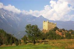 Castle In Italy, Aosta Stock Photo