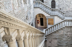 Castle indoor. The interior with the great stairs of a medieval castle in Italy. The building is in the public domain Royalty Free Stock Photo
