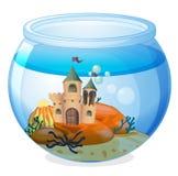 A castle inside the aquarium. Illustration of a castle inside the aquarium on a white background Stock Photos