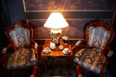 Castle interior. Palace interior. All is ready for tea drinking Royalty Free Stock Photos