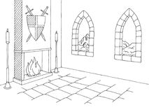 Castle interior graphic black white medieval sketch illustration vector vector illustration