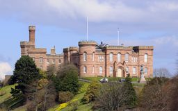 Castle at Inverness in Scotland. Hilltop Castle on embankment above the Rivar Ness at Inverness in Scotland Stock Photo