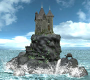 Castle on a island. A beautiful illustration where you can see an ancient castle on a island. Very detailed Royalty Free Stock Images