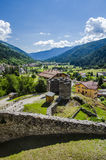 Castle in italian alps. Scenic view of the `Val Di Sole`  an italian vally on alps from the castle in Ossana Royalty Free Stock Photography