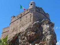 A castle with an Italian flag stock photo