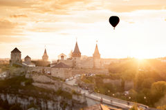 Castle in Kamianets Podilskyi and  air balloon Stock Photo
