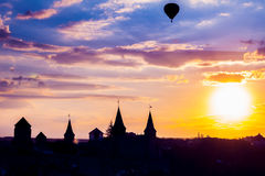 Castle in Kamianets Podilskyi and  air balloon Royalty Free Stock Photos