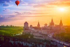 Castle in Kamianets-Podilskyi and  air balloon Stock Image