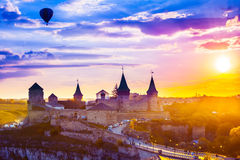 Castle in Kamianets-Podilskyi and  air balloon Royalty Free Stock Photography