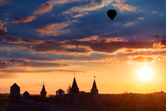 Castle in Kamianets Podilskyi and air balloon Stock Photography