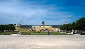 Castle Karlsruhe - Panoramic view. A panoramic view of the palace in the city of Karlsruhe, Germany stock images