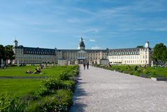 The castle of Karlsruhe in spring Royalty Free Stock Photo