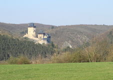 Castle Karlstejn. On hill between forests in Czech Republic Royalty Free Stock Images