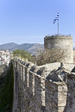 Castle at Kavala city in Greece. Castle with defense tower at Kavala city in Greece Royalty Free Stock Images