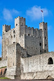 Castle keep. Norman built castle keep and outside defensive wall on a bright summers day Royalty Free Stock Photo