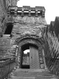 Castle Keep. Black and white upward shot of castle keep door Royalty Free Stock Photography