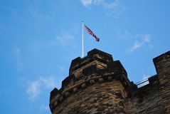 Castle Keep. A British flag atop a castle keep Royalty Free Stock Image