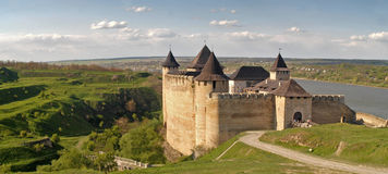Castle, Khotin, Ukraine. Panoramic view on the ancient castle Stock Photography