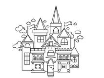 Castle kingdom kids and adults coloring pages Royalty Free Stock Image
