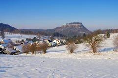 Castle Koenigstein In Elbe Sandstone Mountains Stock Photo