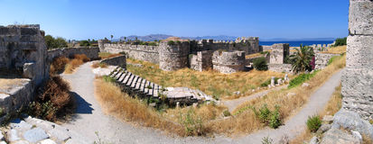 Castle Kos. Panoramic view of the inner fortress of the city of Kos, Greece Royalty Free Stock Photo