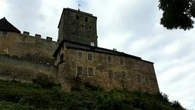 Castle Kost on rock. Gothic castle Kost with defence towers and walls on rock in Czech Republic stock video