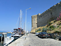 Castle in Kyrenia, Cyprus. Side view on Kyrenia Castle (Girne Kalesi), Northern Cyprus. Photo taken on: July 2015 stock photography