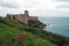 Fort la latte next to Cap Frehel in Brittany, France. The castle of la Latte standing 196ft 60m on a rock above the sea. Built in the 14th century, the fort was Royalty Free Stock Images