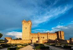 Castle of La Mota in Medina del Campo at dusk. Panorama view of the famous castle Castillo de la Mota in Medina del Campo at dusk, Valladolid. This reconstructed Stock Images