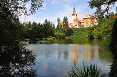 Castle with lake. Pruhonice in sunny day royalty free stock photo